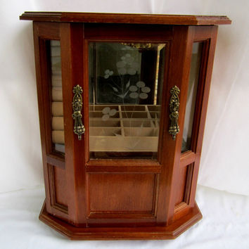 Wood Jewelry Chest Box With Etched Glass Door