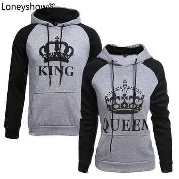 2017 KING Queen Crown Print Unisex Men Women Autumn Hoodies Slim Sweatshirt for Couple Lovers Winter Patchwork Hooded Pullovers