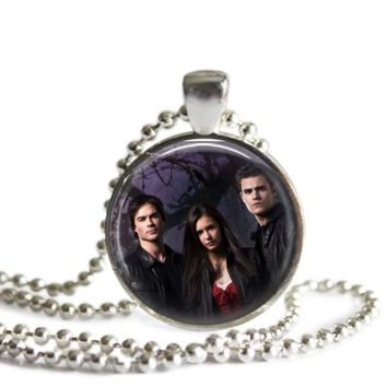 The Vampire Diaries Purple 1 Inch Silver Plated Pendant Necklace Handmade