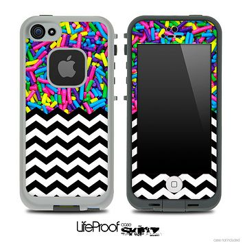 Mixed Neon Sprinkles and Chevron Pattern Skin for the iPhone 5 or 4/4s LifeProof Case