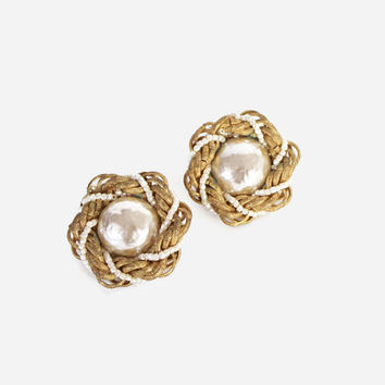 Vintage 60s HASKELL EARRINGS / 1960s Signed Designer Miriam Haskell Baroque PEARL Gold Beaded Clip Ons