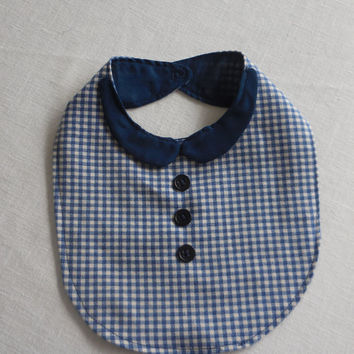 Blue Collar button up Plaid Baby Boy Bib