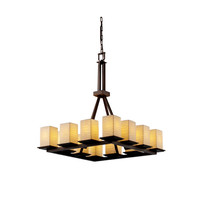 Justice Design Group POR866315WFALMB Limoges Montana 12-Light Matte Black Tall Ring Chandelier - (In Matte Black)