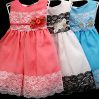 Girls Kid Collection 812 Taffeta Lace Trim Flower Crew Neck Sleeveless Pageant Wedding Flowergirl Party dress
