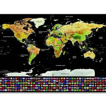 gift scratch off map world wall sticker mapa mundi Scratch World Map Poster Mini Foil Layer Coating Travel Edition Journal Home