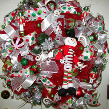 Christmas wreath, Christmas deco mesh wreath, whimsical wreath, wreath, door hanger,deco mesh wreath, Christmas decor, holiday wreath