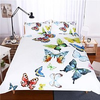 3 Pieces Flying Butterflies Duvet Cover Set Butterfly Collection Bedding Set Hypoallergenic Soft Bed Cover Set