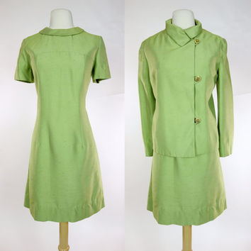 1960s green dress and matching jacket, mod iridescent linen dress suit, rhinestone buttons, Large