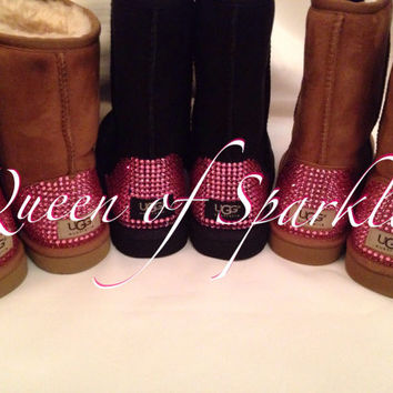 PRICE SLASHED!!! Valentine's Day Custom Rose Swarovski Encrusted Classic Short Ugg Boots - Only Authentic Uggs and Swarovski Crystals Used