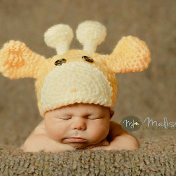 Newborn / Hand Crocheted Baby Giraffe Hat / FREE USA S&H