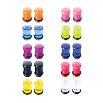 BodyJ4You Plugs Set Acrylic Single Flare Mixed Colors 0G 8mm Piercing Jewelry Kit 20 Pieces