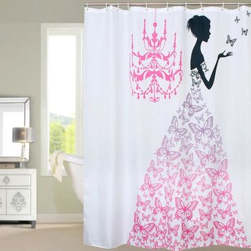 Fabric Polyester PINK Butterfly Princess Waterproof Shower Curtain Thicken Shower Curtain Bathroom Curtain, 180 Cm * 180 Cm