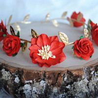 SCARLET FLOWER CROWN, gold flower crown, red flower crown, roman goddess crown, flower girl, baby girl headband, red headband, baby bow