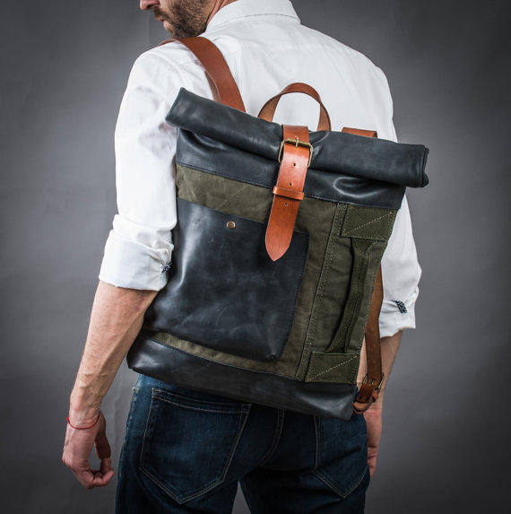Canvas and leather backpack Original from KrukGarage on Etsy