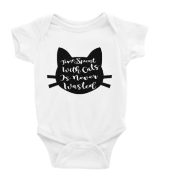 Time Spent with Cats is Never Wasted Long or Short Sleeve Unisex Onesuit