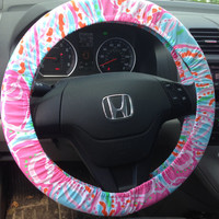 Steering Wheel Cover made with Lilly Pulitzer Jellies Be Jammin fabric