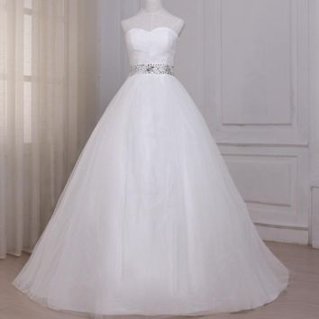 White Ivory Wedding Dress Sweetheart Sleeveless Beaded Sequined Tulle A-line Bridal Gowns Back Zipper