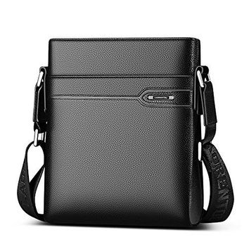 LAORENTOU Mens Genuine Leather Shoulder Bag Crossbody Bag Business Purse Messenger Bag for Men