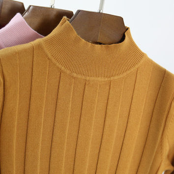 New 2016 Knitted Turtleneck Sweater Fashion Women Autumn High Stretch Striped Pullover Long Sleeve Sweater Women Pull Femme L865