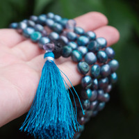 Bohemian beaded teal blue beaded semi precious stone necklace Sea toned pearl hand knotted mala beads Blue boho tassel necklace Yoga jewelry
