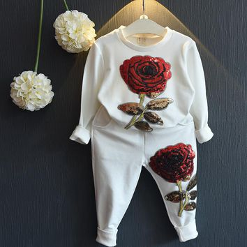 2017 New Arrival Sale Minnie Mouse Girls Clothing Sets Baby Girl Fashion Clothes Flower Fall Set Kids Toddler Christmas Outfits