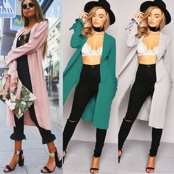 US Fashion Women's Casual Long Coat Jacket Trench Outwear Cardigan Blazer Top