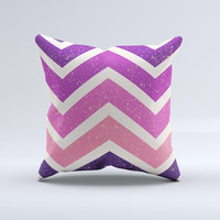 Purple Scratched Texture Chevron Zigzag Pattern ink-Fuzed Decorative Throw Pillow
