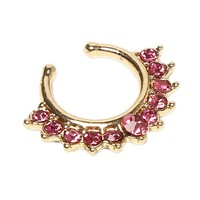 Gold Silver Plated Crystal Fake Nose Rings Nose Piercing Body Jewelry Nose Ornament For Women