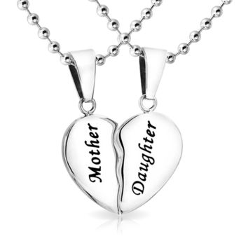 Mother Daughter Split Heart Break Apart Stainless Steel Necklace