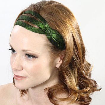 green headband, dark green headband, green hair accessories, hair band