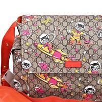 Gucci Space Cats Birds GG Supreme Canvas Diaper Bag Baby Beige 211131-204991