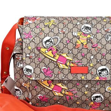 1ae3cfe248b3 Gucci Space Cats Birds GG Supreme Canvas Diaper Bag Baby Beige 2