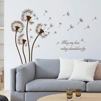 2017 dandelion flower wall sticker decals black brown plants vinyl wallpaper mural girls home bedroom living room window decor