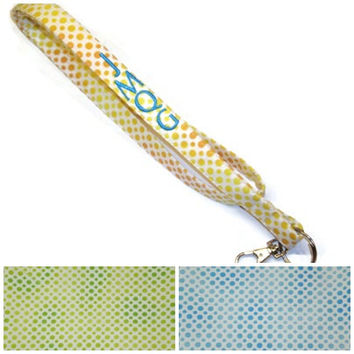 Personalized dots lanyard - Choose your COLORS, monogrammed lanyard, polka dots lanyard, ID badge lanyard, teacher lanyard, under 10 gift