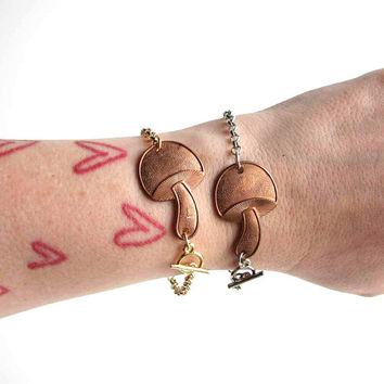 copper mushroom bracelet on your choice of gold or silver chain