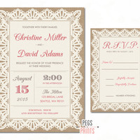 Burlap and Lace Wedding Invitations - Rustic Wedding Invitation Set Printable - Rustic Wedding Invitation Suite - Wedding Invitation Rustic