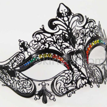 Laser Cut Venetian Masquerade Mask with Genuine Rainbow Crystals