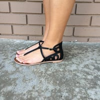 Black Snake Buckle Sandal