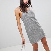 ASOS DESIGN Mini Check Square Neck Cami Dress at asos.com
