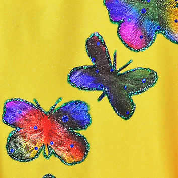Gymnastics - Ice Skating Leotard - Yellow with Butterflies