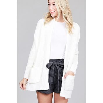 White Dolman Sleeved Open Front Cardigan