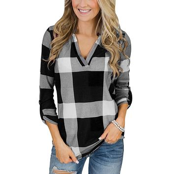 Womens Tops And Blouses Vintage Plaid Long Sleeve Shirt 2018 Women Clothes Streetwear