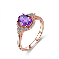 YAN & LEI Rose Golden Plated Sterling Silver Ring with Oval Amethyst and CZ