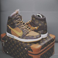 (With Bag) Off white x Louis Vuitton x Air Jordan 1 Pinnacle AJ Basketball Shoes AO0818-158