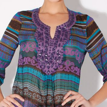 Beaded Sheer Purple Silk Blouse
