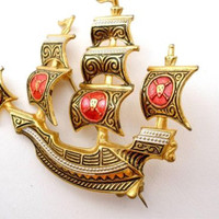 Vintage Damascene Ship Brooch Enamel Toledo Ware Pin