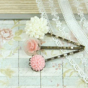 Flower Hair Pin Bobby Pin Set Bobbies Victorian Hair Pin Floral Hair Pin Cameo Hair Clip