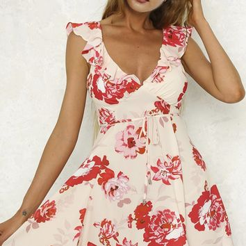 Spring Fling Floral Pattern Sleeveless Ruffle V Neck Casual Mini Dress