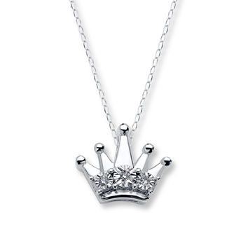 Young Teen Crown Necklace Diamond Accents Sterling Silver