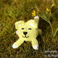 Toy Cat, handmade from eco friendly cotton yarn, red and white, perfect stocking stuffer, easter, holiday gift for kids